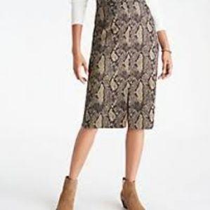 Ann Taylor Snakeskin High Waist Skirt Size 6
